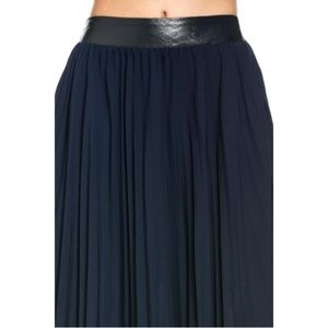 TOV Holy Skirts - Navy Pleated Maxi Skirt